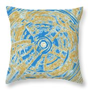 Round And Round Blue And Gold Throw Pillow