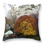 Round Autumn Trees Throw Pillow