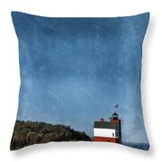 Round Island Lighthouse In Michigan Throw Pillow