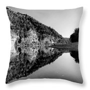 Round The Bend Buffalo River In Black And White Throw Pillow