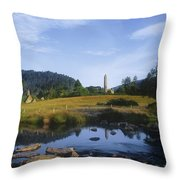Round Tower In The Forest Glendalough Throw Pillow