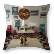 Route 66 Burgers Throw Pillow