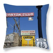 Route 66 Canyon Club Throw Pillow