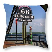 Route 66 - Chain Of Rocks Bridge And Gas Pump Throw Pillow