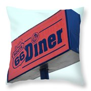 Route 66 Diner Sign Throw Pillow
