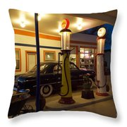 Route 66 Garage At Night Throw Pillow