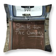 Route 66 Gas Pump Humor Throw Pillow