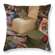Route 66 Memorablilia Throw Pillow