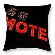 Route 66 Motel Neon Throw Pillow