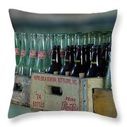 Route 66 Odell Il Gas Station Cases Of Pop Bottles Digital Art Throw Pillow