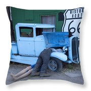 Route 66 Repair Shop Throw Pillow