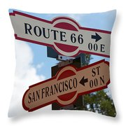 Route 66 Street Sign Throw Pillow