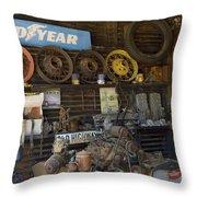 Route 66 Vintage Garage Throw Pillow
