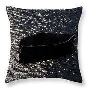 Row Boat In The Sun Throw Pillow