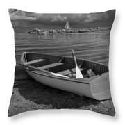 Row Boat On The Shore Of Lake Ontario In Toronto Throw Pillow