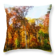 Row Of Autumn Trees Throw Pillow