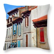 Row Of Houses In Arles Provence Throw Pillow