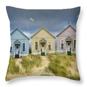Row Of Pastel Colored Beach Cottages Throw Pillow