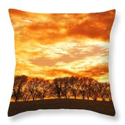 Row Of Trees Throw Pillow