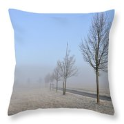 Row Of Trees In The Morning Throw Pillow