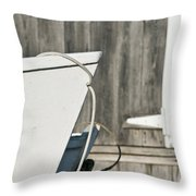 Rowboat And Boathouse Throw Pillow