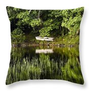 Rowboat Moored On The Bank Of A Lake Throw Pillow