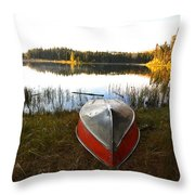 Rowboats At Jade Lake In Northern Saskatchewan Throw Pillow