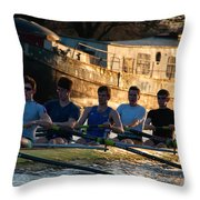 Rowers At Sunset Throw Pillow