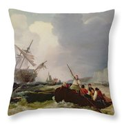 Rowing Boat Going To The Aid Of A Man-o'-war In A Storm Throw Pillow