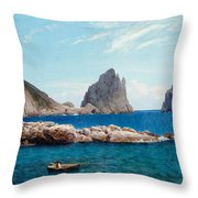 Rowing Off The Rocks Throw Pillow