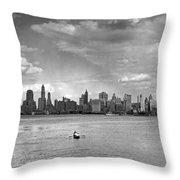 Rowing To Manhattan Throw Pillow