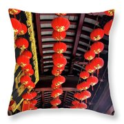 Rows Of Red Chinese Paper Lanterns - Shanghai China Throw Pillow