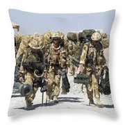 Royal Marines Haul Their Equipment Throw Pillow