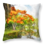 Royal Poinciana Lake Throw Pillow