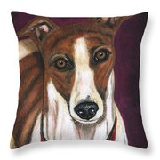Royalty - Greyhound Painting Throw Pillow by Michelle Wrighton