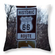 Rt 66 Il Turn Out Signage Throw Pillow