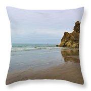 Ruby Beach Seastack Reflection Throw Pillow