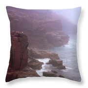 Rugged Seacoast In Mist Throw Pillow