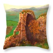 Ruined Castle View Throw Pillow