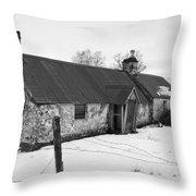 Ruined Cottage In Snow Throw Pillow