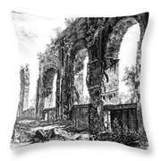 Ruins Of Roman Aqueduct, 18th Century Throw Pillow by Photo Researchers