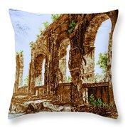 Ruins Of Roman Aqueduct, 18th Century Throw Pillow