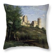 Ruins Of The Chateau De Pierrefonds Throw Pillow