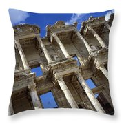 Ruins Of The Great Library At Ephesus Throw Pillow