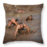 Runners Navigate An Obstacle Course Throw Pillow