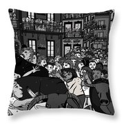 Running Of The Bulls 2 Throw Pillow