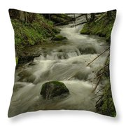 Running Over The Rocks   Throw Pillow
