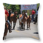 Running The Horses Throw Pillow