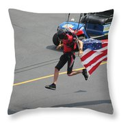 Running With Ol' Glory Throw Pillow