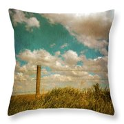 Rural Barbed Wire Fence Throw Pillow